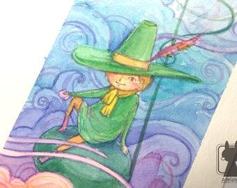 Snufkin watercolor art - original painting moomin art - small nursery decor - music note