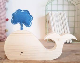 Wooden whale decoration, whale shelfie, wooden whale, nautical themed room, under the sea nursery, nursery decor