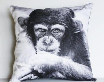 SALE SALE SALE Animal Cushion cover decorative pillow Cheeky Chimp, Monkey   16 x16 inch pillow 40cm cushion