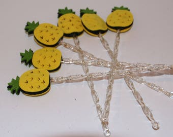 Pineapple Drink Stirrers Swizzle Sticks Acrylic Double Sided Set of 6