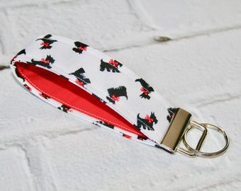 Scottie Dog Fabric Key Fob, 5 Inch Key Ring, Key Wristlet, Key Loop, Fabric, Keychain, Christmas Gift, Teachers Gift