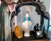 "FREE SHIP! 13""  Shrine Gorgeous Virgin Mary and Jesus Likeness with Votive Candle"