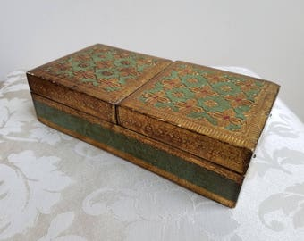 "Vintage Florentine Wood Box Handmade in Italy by Florentia 4"" x 8"", Embossed Gold Gilt Green Red, Vanity Dresser Unisex Decorative Storage"