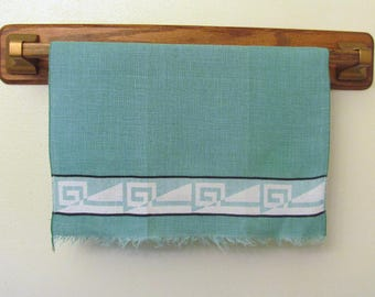 Vintage Green Geometric Print Linen Dish Kitchen Towel