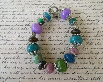 Chunky Assorted Stone Beads Bracelet With Agate Bronzite And Jade And Silver Accents