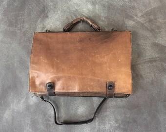 80s Vintage Olive Green Brown Leather Large Satchel Briefcase w/Shoulder Strap