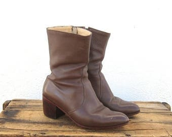 20% Off Sale Vintage Handmade Distressed Brown Leather Heeled Zip Up Chelsea Boots Ladies Size 8, Mens 6