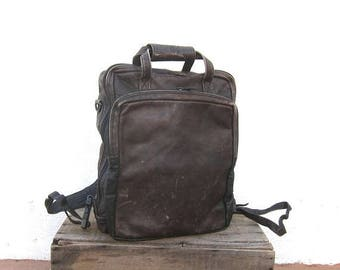 20% Off Sale 90s Distressed Chocolate  Brown Leather Backpack Modernist Minimalist Travel Laptop Bag