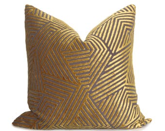 Sun Dial Pillow Cover - Gold - Cut Velvet - Geometric Pillow - Mid Century Modern Pillow - Decorative Pillow - Throw Pillow - Gold Pillow