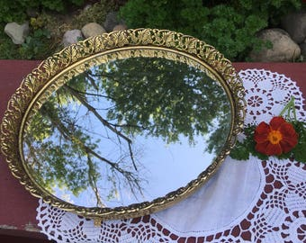 Vintage mirrored dresser tray, Gold mirrored dresser tray