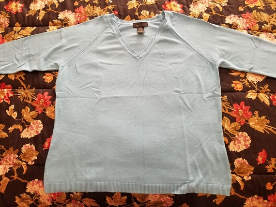 Ladies Sweater - Aqua Color - Size Large - Attention Brand - Rayon and Nylon