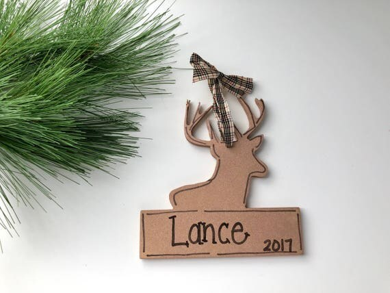 Hand painted, deer silhouette, christmas ornament, with banner, Hand painted ornament, christmas ornament, deer ornament, woodland ornament