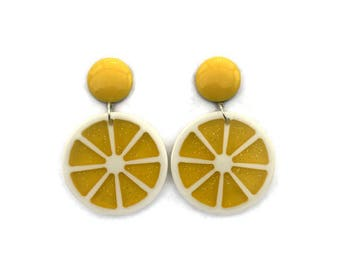 Yellow Lemon Fruit Slice Earrings - Retro Fruity - Glitter Plastic Dangle Earrings - Handmade in USA - Women's, Rockabilly, Pinup Jewelry