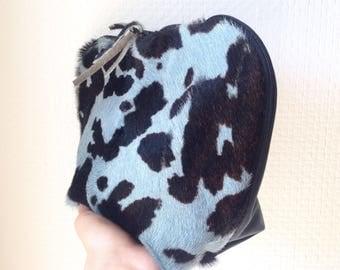 Half Cowhide Half Black Leather Make-Up Bag