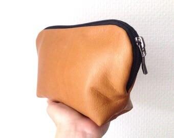 Brown Leather Make-Up Bag