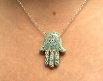 Gift Hamsa necklace Evil eye necklace Hand of Fatima necklace Spiritual Hamsa jewelry Hamsa necklace sterling silver Blue Hamsa necklace
