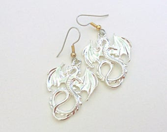 Silver Dragon Earrings, Serpent Dangles, Fantasy Jewelry, Silver Dragon Ear Jewelry, Medieval Flying Dragons