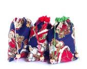 Christmas Gift bag, Santa Claus Fabric Pouch, Zero waste sack, Reusable drawstring bag, Xmas Goodie, Stocking stuffers, Jewelry pouches
