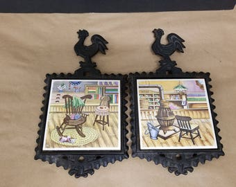 Pair of Vintage Cast Iron and Tile Trivets