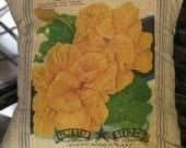 Grain Sack Pillow Cover Yellow Nasturtium  by Gathered Comforts
