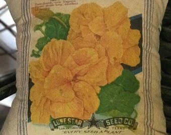 Grain Sack Pillow Cover Yellow Nasturtium  by Gathered Comforts