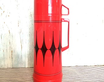 Vintage Aladdin Thermos, Diamond Pattern Red and Black Vanguard Retro Hot Cold Container