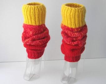 FLAME: Hand Knit Thick SEAMLESS Leg warmers 100% WOOL & Mohair / Wearable Fiber Art / textured knit / Dance Yoga