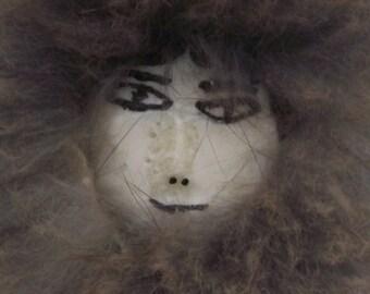 Vintage Alaskan Native Doll Scrimshaw Folk Art Bone Face Seal Caribou Rabbit Fur Ethnic Tribal Native American Eskimo Resort Primitive