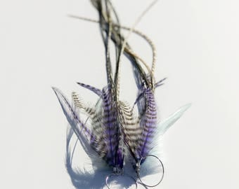 """13.5"""" Extremely Long Feather Earring - Purple Haze - Grizzly Rooster Hackle light blue white - Gypsy Bohemian Hair Extension Earrings"""