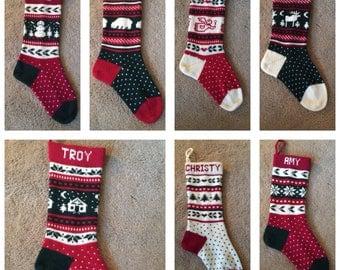 Christmas stocking, holiday stocking, knit stocking, personalized stocking, wedding gift, shower gift