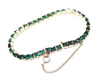 Green Rhinestone Tennis Bracelet - Vintage 1960's 1970's Square Cut Rhinestones - Gold Tone Setting - Emerald Green Crystal Glass Stones