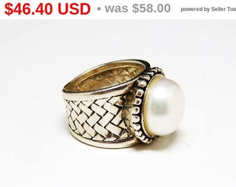 Spring Fling Sale Sterling Basket Weave Ring - Sterling Silver & Pearl Glass Bead - Cigar Band Ring - Wide Band Ring - Size 6 - Modernist...