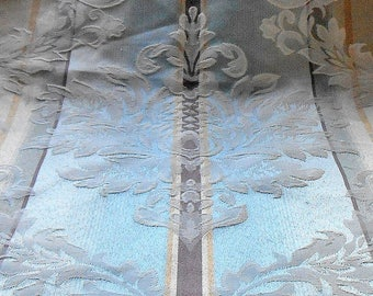 Vintage Fabric French 1930s  Powder Blue Remnant