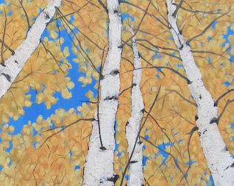 """Aspen Grove Painting Yellow Trees Art Large 24""""X 36"""" Oil Painting Gallery Wrapped Canvas Nature Wall Decor Aspen Trees Painting Karen Snider"""