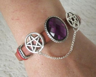 Pentacle Leather Bracelet, wiccan jewelry pagan jewelry wicca jewelry goddess witch pentagram witchcraft wiccan bracelet pagan bracelet