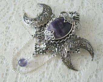 Amethyst Brooch, amethyst jewelry victorian jewelry art nouveau jewelry art deco jewelry edwardian victorian brooch gothic art deco brooch