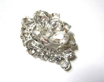 "Eisenberg Rhinestone Brooch Signed 1940s Pin Vintage 2"" Large Clear Brooch Collector Jewelry Designer Signed Marked"