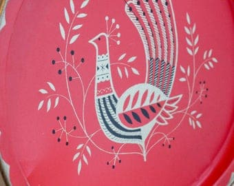 Vintage Red Peacock Serving Tray, Metal Scandinavian Folk Art Bird