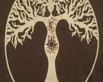 Goddess Tree Cotton Crew Neck T-shirt