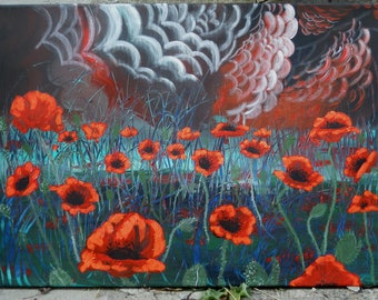 """Art Original Painting Abstract  """"  Poppies in the Night"""""""