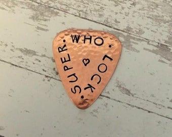 ON SALE SUPERWHOLOCK - Engraved Guitar Pick - Copper Guitar Pick - SUPERnatural - Doctor Who - SherLock Holmes - Fandom - Winchester - Fangi