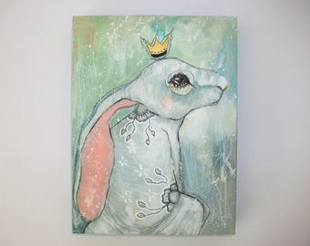 Original hare rabbit bunny painting mixed media art painting on wood canvas 8x6 inches - The path of my dreams