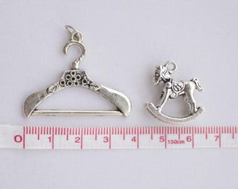 Crutch and Rocking pony charms antique silver tone 1+1 pieces •  Coat hanger Charms • Silver Charms • Tibetan Silver Tone