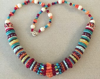 KIT and PATTERN tutorial Zulu rope bead embroidery Necklace Carnival Colors