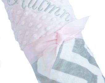 Personalized Baby Blanket Gray and White Minky Chevron Baby Blanket with Pink Dot Minky Back Stroller Size