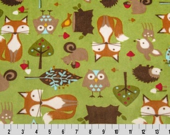 Fox print with brown dot back and brown Satin Ruffle Trim-Stroller Size