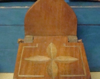 Antique Hand Carved Primitive Wall Box Wooden Early 1900s Country Old