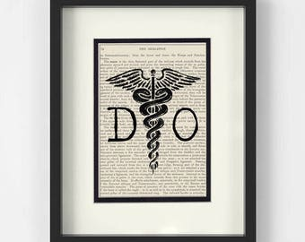 Osteopathy, Doctor Of Osteopathic Medicine, DO over Vintage Medical Book Page Art Print - Doctor of Osteopathy, Osteopathic Doctor Gift