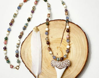 Mixed Gemstone Fang Bohemian Necklace