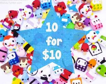 ON SALE - Ten Keychains for Ten Dollars - Food Keychain, Kawaii Keychain, Felt Food, Animal Keychain, Stocking Stuffer